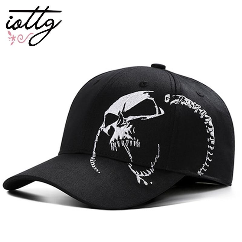 IOTTG 2018 New Skull Punk Fashion Embroidery   Baseball     Cap   High Quality Cotton Snapback bone Hat Hip Hop   Cap   For Men Women
