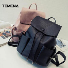 Temena мода кожаный рюкзак Для женщин Новинка; для женщин школьная сумка для Обувь для девочек и подростков леди рюкзак шнурок Bagpack ABP340