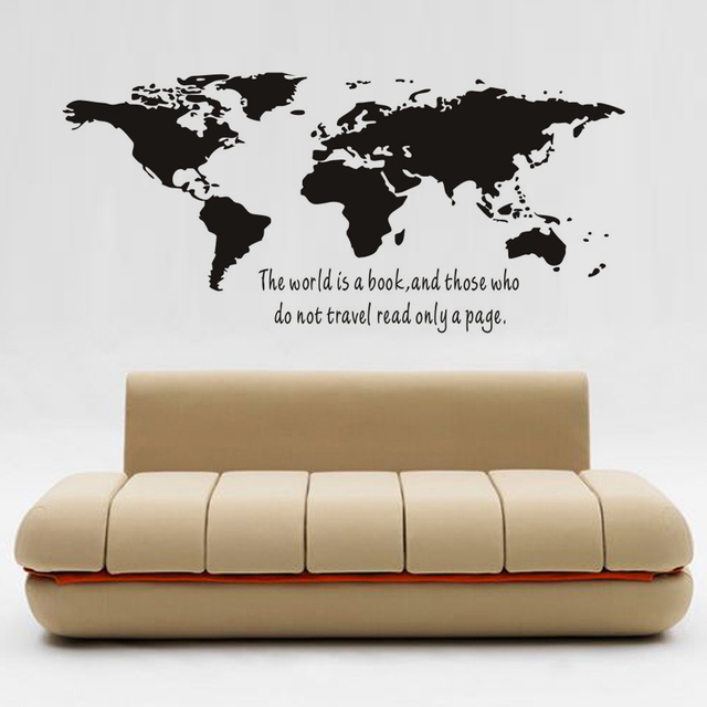 The World Is A Book Map Removable Pvc Decal Wall Sticker Home Decor Art For Living Room Decoration Jd2993