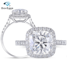DovEggs 10K White Gold Center 3ct 8.5mm GH Color Cushion Cut Moissanite Halo Engagement Ring with Accents for Women Wedding
