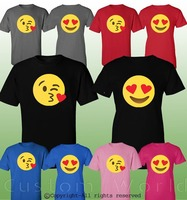2019 Hot Sale 100% cotton Couple Shirt Emoji Kiss Cute Matching Couple Clothes T Shirts His Hers T Shirts Tee shirt