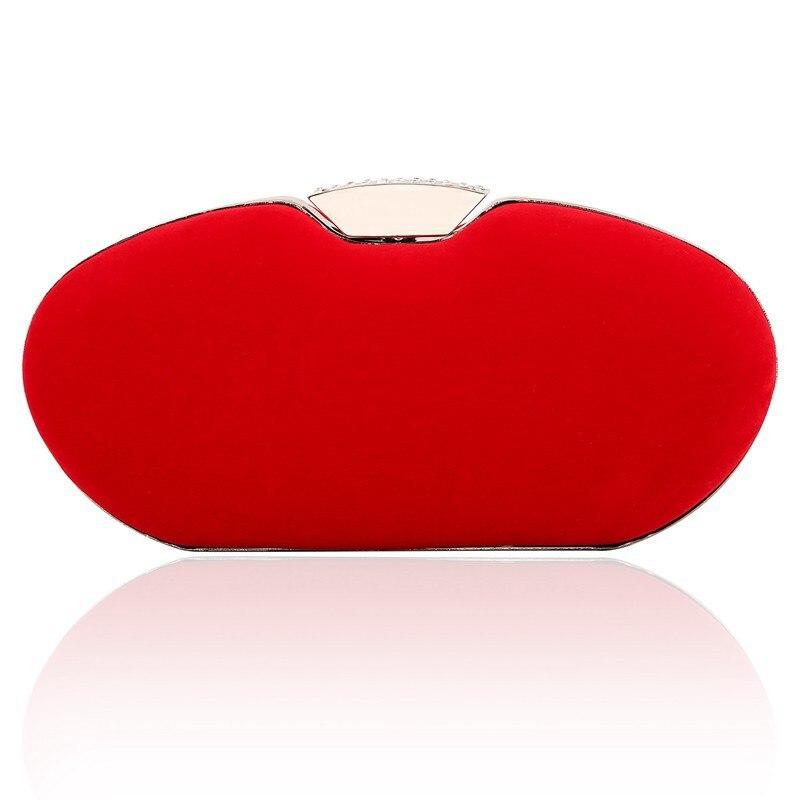 105a6c69d 2017 Forma Oval Senhora Nova Noite Saco de Ombro das Mulheres De Veludo  sacos Vermelhos Quadro Diamante Sacos de Embreagem Bolsa Festa de Casamento  Pequeno ...
