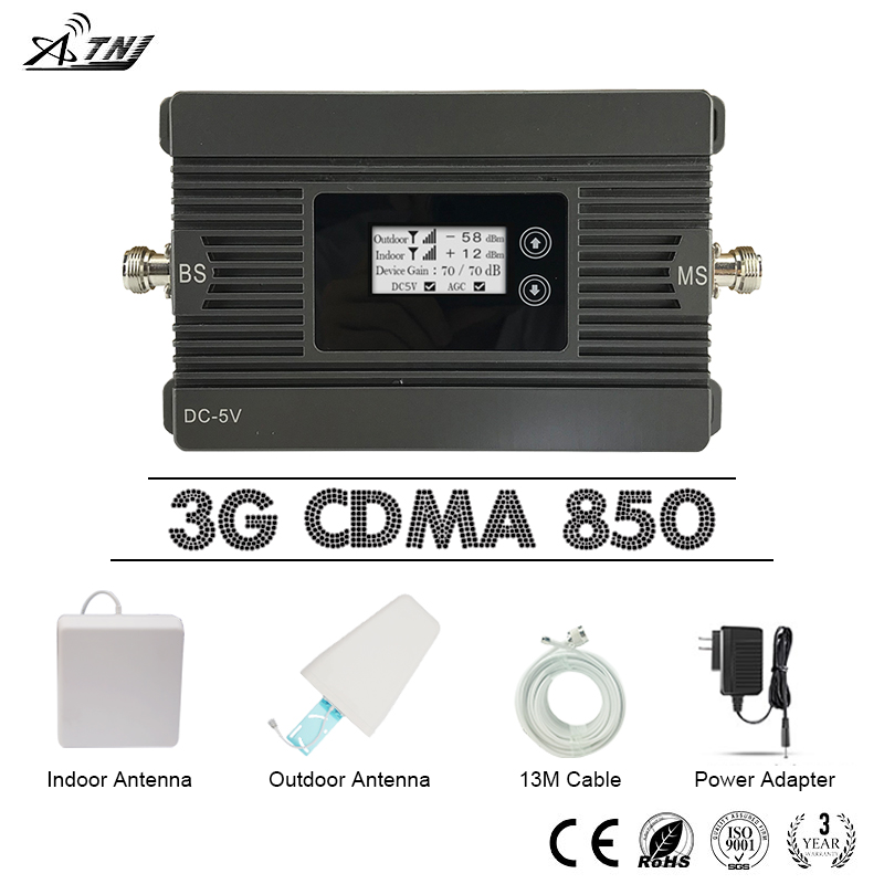 ATNJ Repeater GSM 3G UMTS Cellphone Signal Booster CDMA 850mhz Mobile Phone Signal Amplifier 3G 80dB Gain LCD Display AntennaATNJ Repeater GSM 3G UMTS Cellphone Signal Booster CDMA 850mhz Mobile Phone Signal Amplifier 3G 80dB Gain LCD Display Antenna