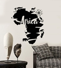 Vinyl wall applique abstract Africa continent map animal stickers, home living room decoration DT02