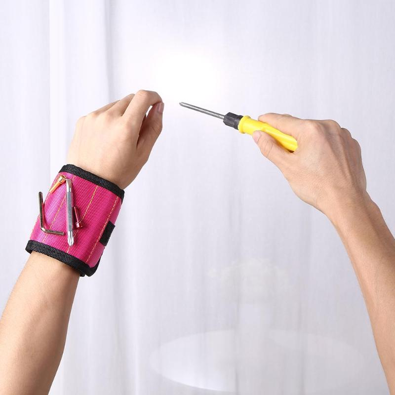 Magnetic Wristband Portable Tool Bag 600DD Oxford Cloth Electrician Wrist Tool Belt Screws Nails Drill Bits Holder Repair Tools