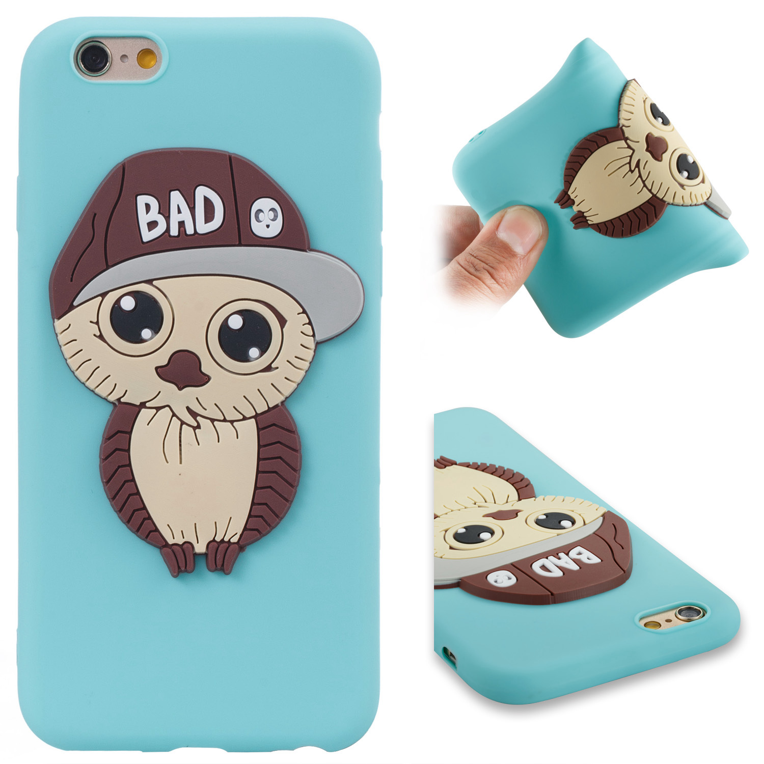 Capinhas TPU + PC 2 in 1 Cover Protective For iPhon 6G 6s Hard Heavy Silm Hybrid NEO Duty Armor Shield Case Mens Owl pattern