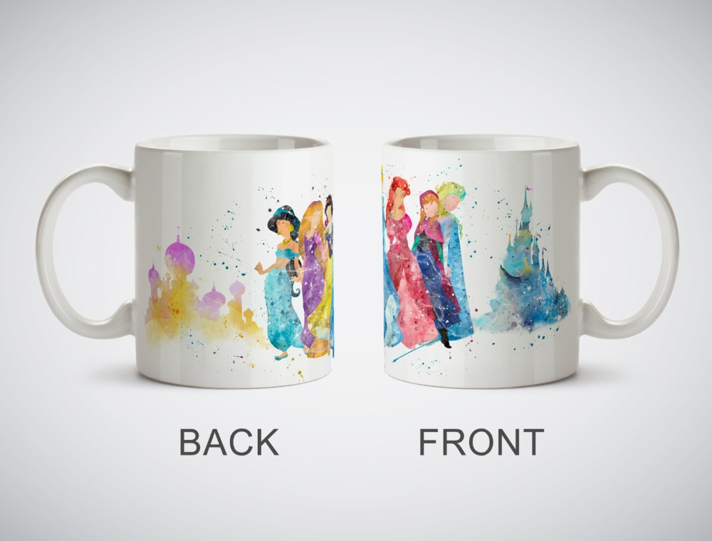 Princesses Jasmine Rapunzel Snow White <font><b>Cinderella</b></font> Ariel Mug <font><b>cups</b></font> procelain tea <font><b>cup</b></font> ceramic coffee mugs tea mugs drinkware
