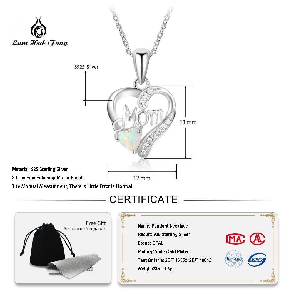 ของแท้ 925 เงินสเตอร์ลิงสร้อยคอจี้รูปหัวใจโอปอลหินของขวัญเครื่องประดับที่ดีที่สุดสำหรับแม่ (Lam hub Fong)