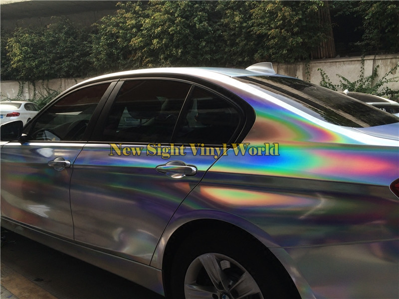Various Colors Holographic Chrome Vinyl Wrap Film Silver / Black & Red / Gold For Hologram Car Body Wrap Foil