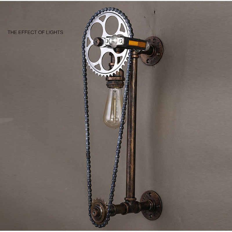 Лофт старинная водопроводная труба настенный светильник, ресторан бар кафе Паб спальня Livng комната лестница вилла E27 Edison Шестерня Бра