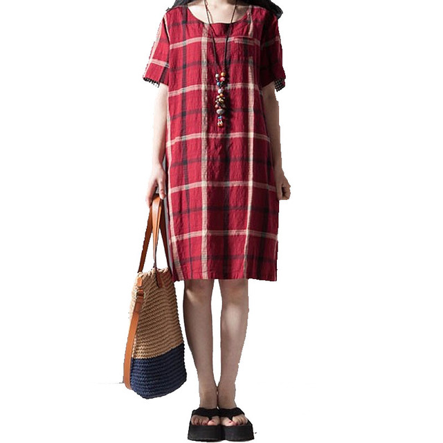 Plus Size Plaid Pregnant Dress Linen Cotton Maternity Clothes for Pregnant Women Summer Casual Maternity Dresses for Pregnancy