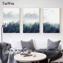 TAAWAA Landscape Canvas Wall Art Forest Posters and Prints Nordic Style Painting Picture For Living Room Decoration Home Decor