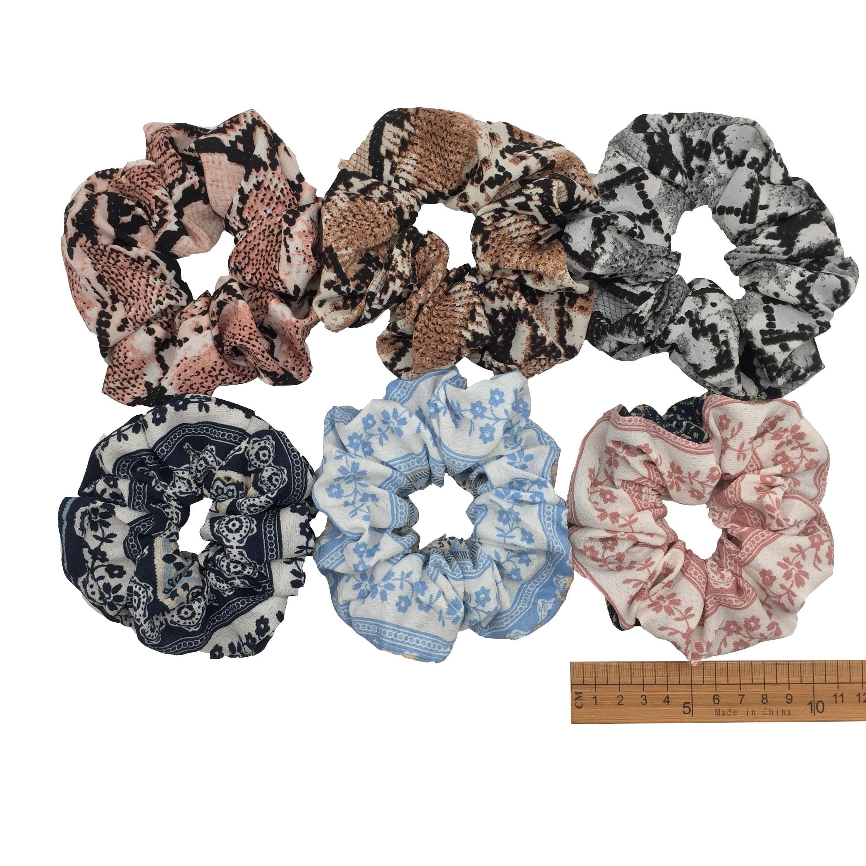 6 шт/лот Бархатные эластичные резинки для волос, резинки для волос для девочек, не складываются, леопардовые женские большие мелкие блестки из шифона с цветочным рисунком - Цвет: PJ007-6PCS