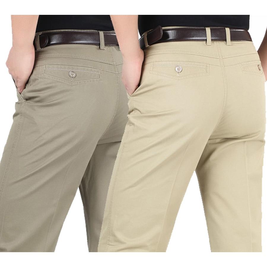 Летний стиль тонкие мужские повседневные штаны Высокая талия хлопок мужские свободные прямые длинные костюмы Штаны среднего возраста Бизнес домашние штаны
