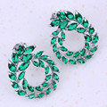 Very Good Green Created Emerald Silver Plated Stud Earrings For Women Fashion jewelry Trend Accessories C0016