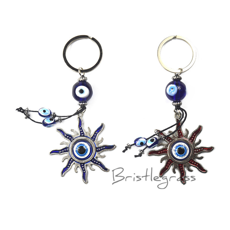 Key Chains Expressive Bristlegrass Turkish Blue Evil Eye Sun Keychain Car Key Chain Ring Holder Amulet Lucky Charm Hanging Pendant Blessing Protection