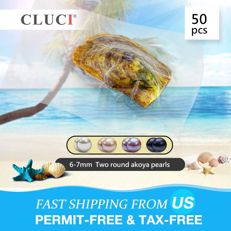 CLUCI 50pcs 6-7mm Round Akoya Pearl in Oyster  Grade Love Wish Twins Pearl Bead Vacuum Packed Oysters with Natural Pearl WP024SB