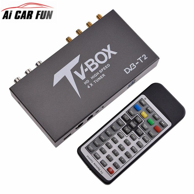 Accessoires de voiture 160-200 km/h 4 antenne DVB T2 voiture 4 puce de mobilité numérique voiture TV Tuner HD 1080 P DVB-T2 voiture TV DC 12 V 24 V récepteur