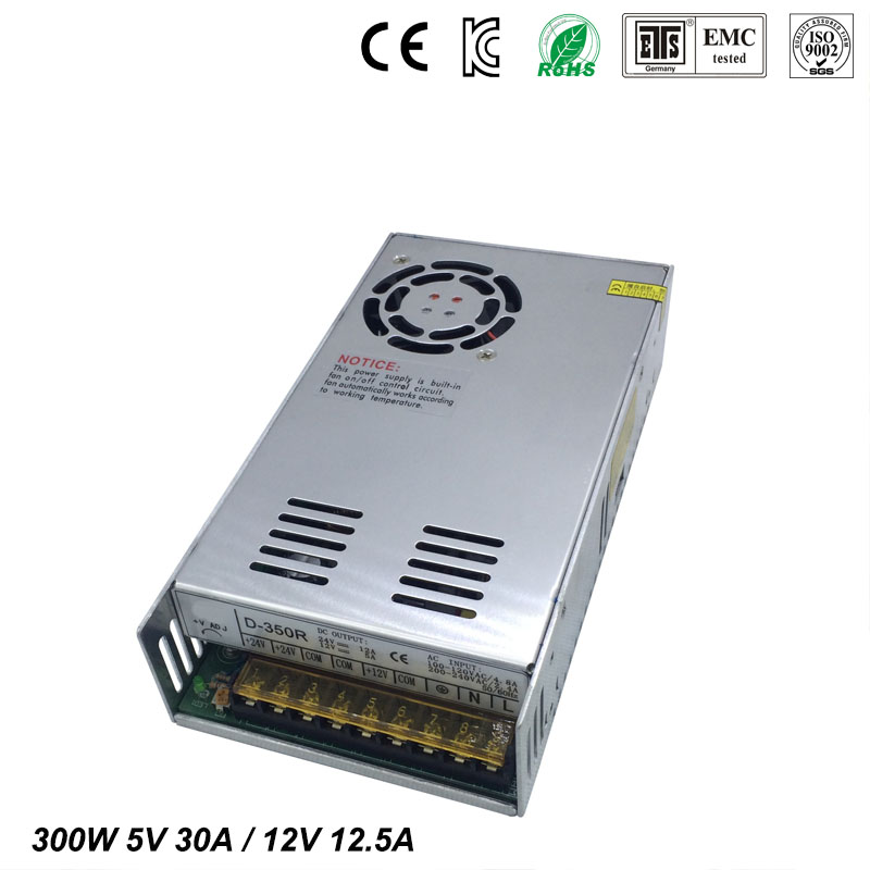 Best quality double sortie 5V 12V 300W Switching Power Supply Driver for LED Strip AC100-240V Input to DC 5V 12V free shipping 36pcs best quality 12v 30a 360w switching power supply driver for led strip ac 100 240v input to dc 12v30a