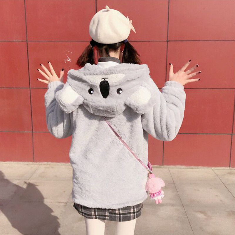 Oreille Zipper Étudiant Fille 2018 Nouveau Coréen Hoodie Veste Automne Chaud Capuche Mignon Shirts 0THqx
