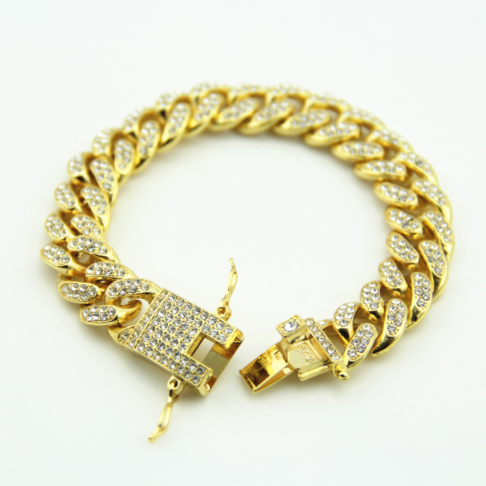 Gold Fully Iced Out Hip Hop CZ Bracelet Mens Miami Cuban bracelet Men's Luxury Simulated Bling Rhinestones Fashion Bangles