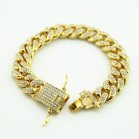 Gold Fully Iced Out Hip Hop CZ Bracelet Mens Miami Cuban Bracelet Men S Luxury Simulated
