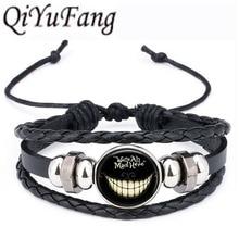 QiYuFang Алиса в стране чудес Шляпник кожаный браслет мы все Бешеные здесь ювелирные изделия черные Многослойные браслеты с подвесками для женщин и мужчин