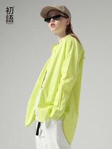 Image 1 - Toyouth moda kadın bluzlar 2019 sonbahar uzun kollu erkek arkadaşı tarzı rahat standı yaka düz renk Streetwear bluz gömlek