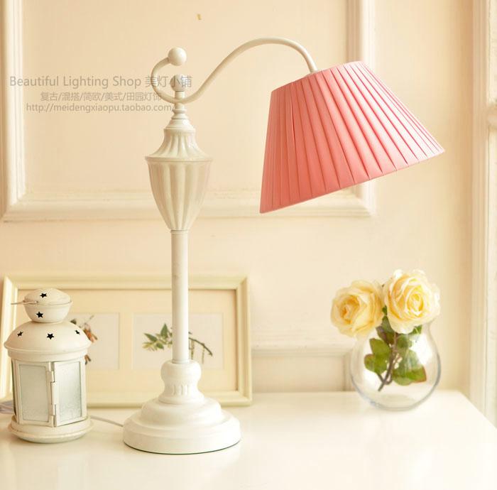 Simple European bedroom lamp bedside lamp table lamp decorated lamp Nordic study mash studd decorated belt