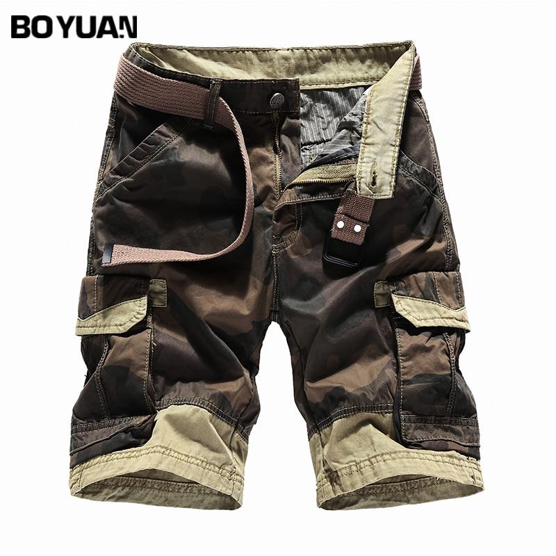 BOYUAN Shorts For Mens Camouflage Cotton Shorts Men Fashion Brand Boardshorts Shorts For Men Knee Length Short Cargo Men GB5051