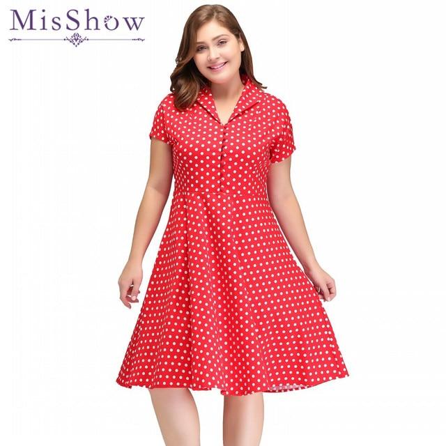 MisShow 2019 Vintage Rockabilly Dress Red Polka Dots V Neck Short ...