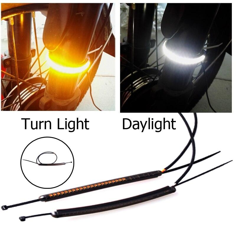 Universal 39mm-41mm Motorcycle LED Fork Turn Signal &Running Daylight Strip Kit For Honda Yamaha Kawasaki Suzuki BMW KTM Ducati