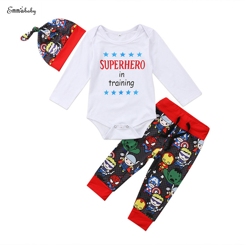 3PCS Newborn Baby Boy Girl Little Superhero Long Sleeve Cotton Romper Tops Long Pant Hat Outfit Kids Clothing Set 0-18M infant baby boy girl 2pcs clothes set kids short sleeve you serious clark letters romper tops car print pants 2pcs outfit set