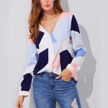 купить Womens tops and blouses Stitching color block casual long sleeve shirt blusas mujer de moda 2019 Vneck cardigan button shirt по цене 761.38 рублей
