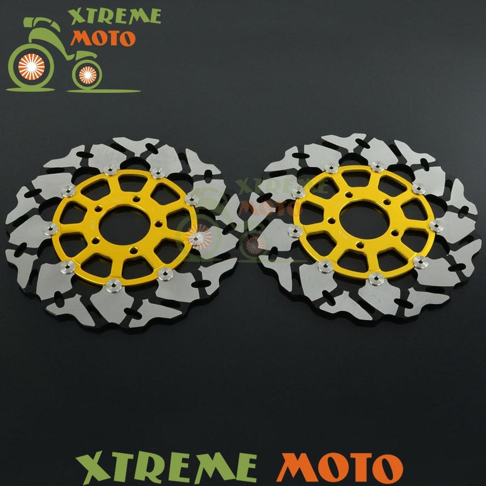 2Pcs Black Motorcycle Front Floating Brake Disc Rotor For GSX600 R GSXR600 GSXR750 GSXR1000 GSXR1300 TL1000T TL1000S 2pcs black motorcycle front floating brake disc rotor for cbr1100xx blackbird cb1100sf cb1300 cb1300f sc42 1100cc 1284cc