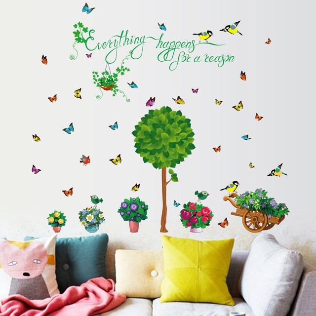 new removable green tree birds butterfly and flower pot wall sticker