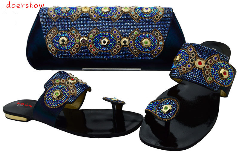 doershow Italy Design Italian Matching Shoe and Bag Set African Wedding Shoe and Bag Sets Women Shoe and Bag To Match BCH1-26 doershow italian shoe with matching bag silver african shoe and bag set new design matching shoes and bags for party bch1 7