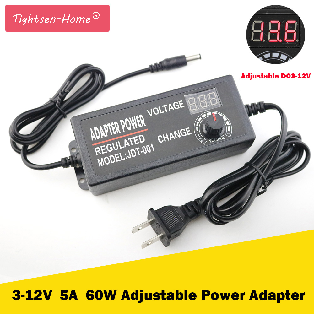 Adjustable 3V-12V 5A 60W AC/DC Adapter Switching Power Supply Regulated Power Adapter Supply Display EU/US/UK/AU High Quality ac dc adjustable power supply adapter 3 12v 5a voltage display speed control us plug ali88