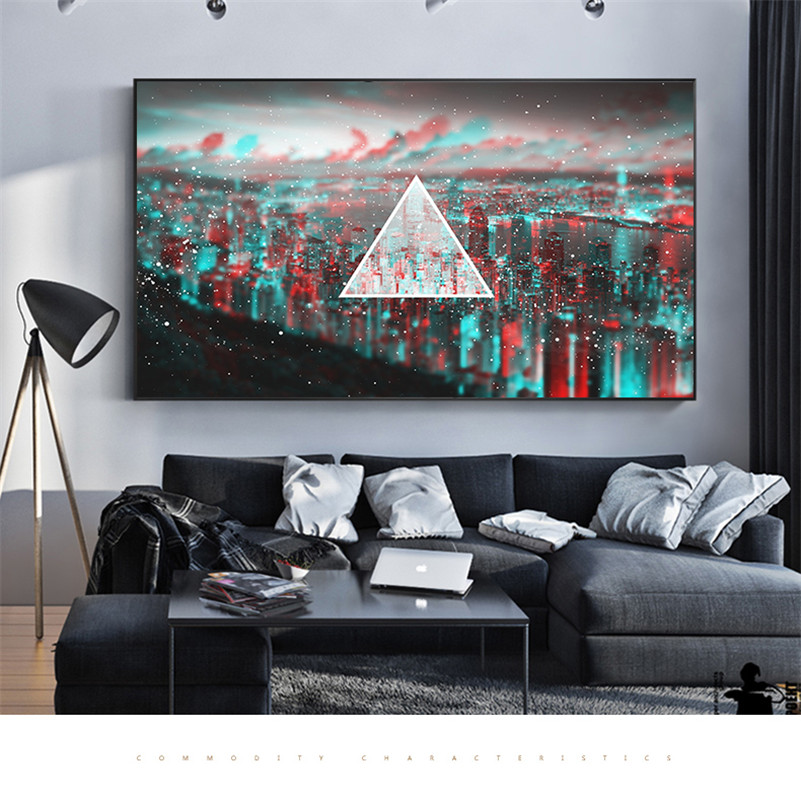 Modern Minimalist City Light Blurred Paintings Wall Pictures for Living Room Wall Art Po ...