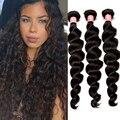 7A Peruvian Loose Wave Virgin Human Hair Weaves Bundles 3Pcs Lot Peruvian Virgin Hair Loose Wave Curly Honey Queen Hair Products