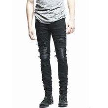 New Mens Skinny Biker Jeans Denim Pants Clothing Zipper Men Slim Fit  Justin Bieber Jean Vintage Ripped Blue Denim Men Jeans Man цена 2017