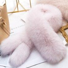 ZDFURS * จริงฟ็อกซ์ขนสัตว์ผ้าพันคอผ้าพันคอผู้หญิงShawl Wraps Shrugคออุ่นสีชมพูStoleขายส่งขายร้อนแหวนผ้าพันคอ 2 หาง