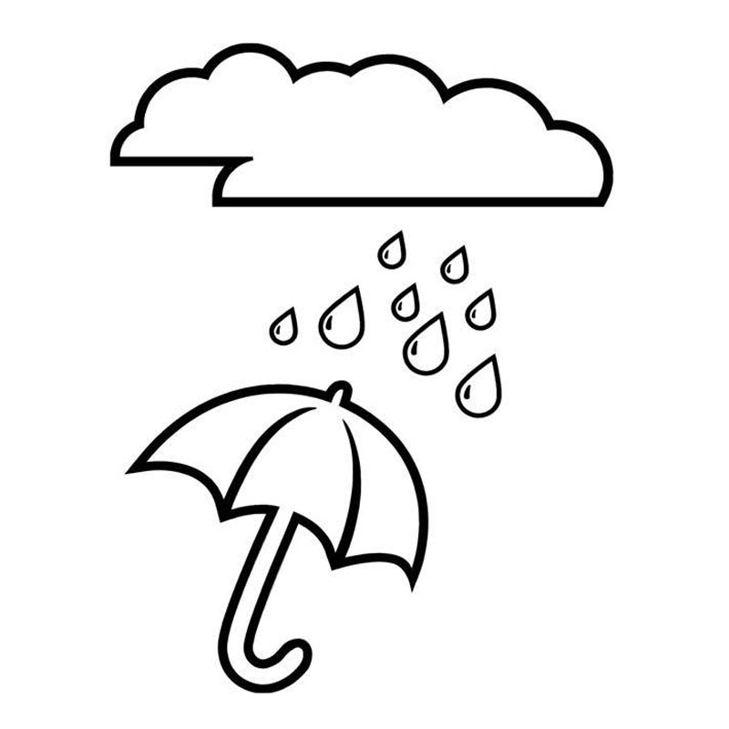 13 6cm 17 5cm Umbrella Raindrops And Clouds Fashion Stickers