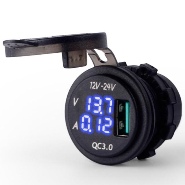 Carga rápida 3.0Amp con voltímetro LED azul y indicador de amperios pantalla Digital QC 3,0 toma de cargador USB para barco de coche de la motocicleta