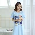 Free Shipping 2016 New Pyjamas Lovely Nightdress Women's 100% Cotton Long Nightgown Home Wear Nightshirt Pluse Size