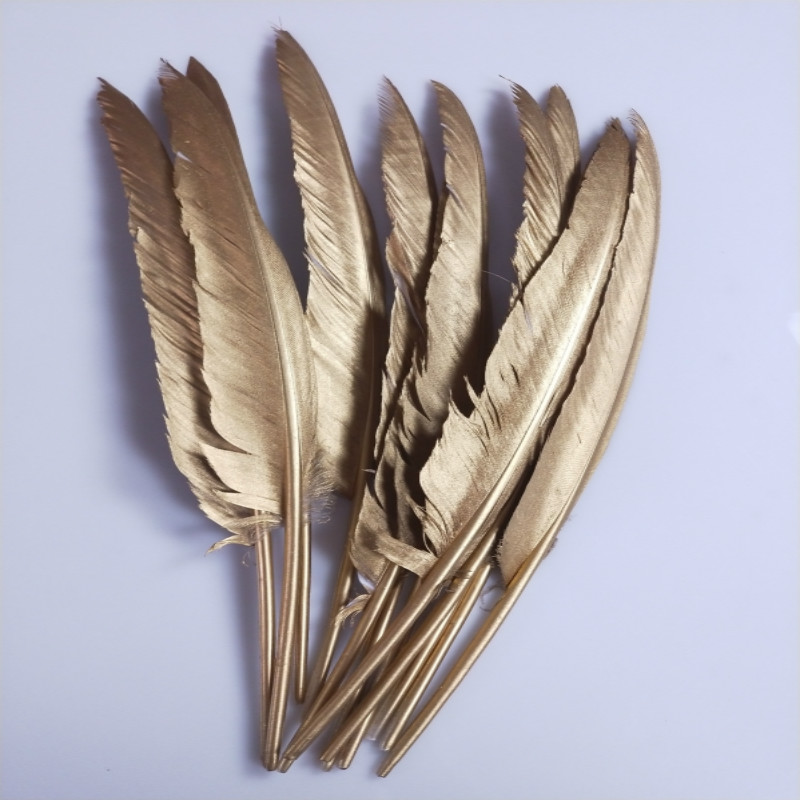 New !Free shipping 20pcs/lot Beautiful Gold Goose Feather 12-14 Inches 30-35cm Wedding, Party ,Home ,Hairs DIY Decoration