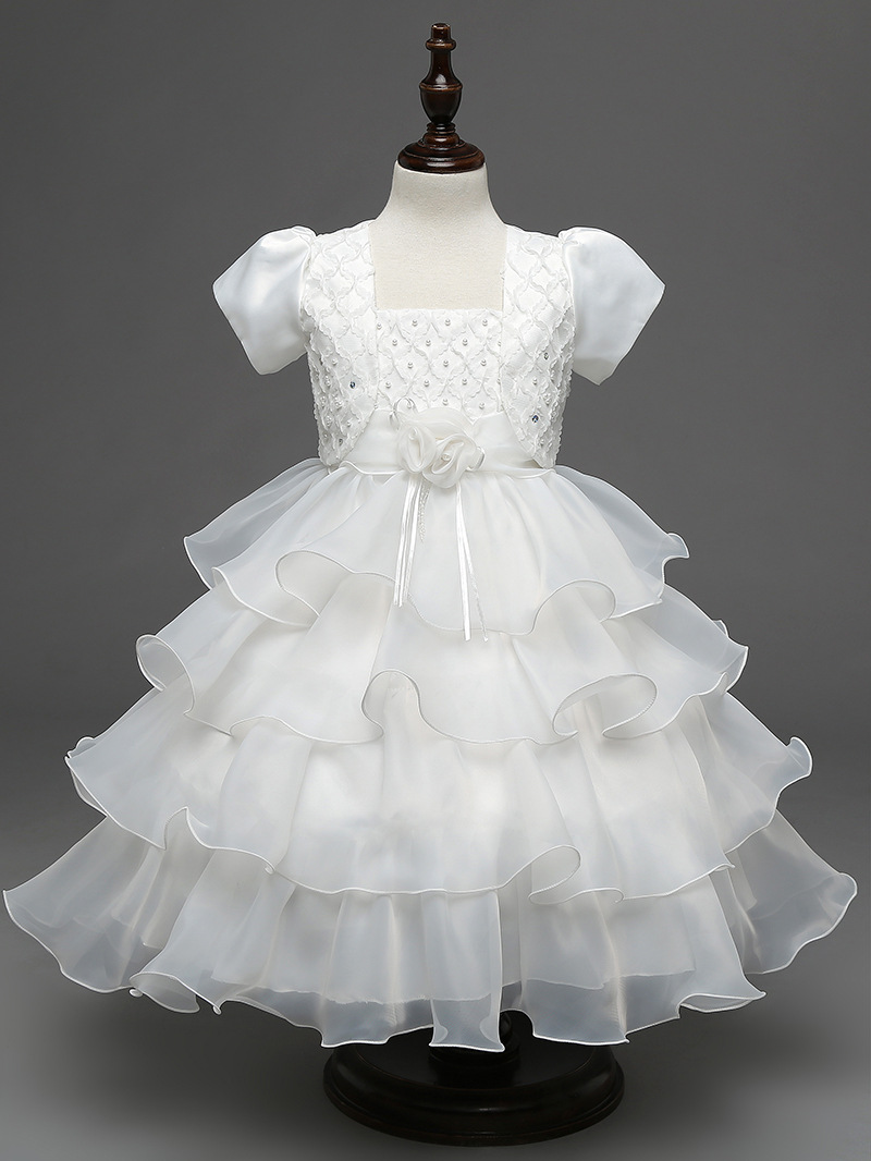 Kids Princess Party Dresses for Children 2 To 10 Years of Age White Christening Gown Blue Wedding Dresses for Girls