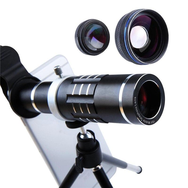Kit de caméra d'objectif de téléphone 3 en 1 18X Zoom télescope 0.45X objectifs Macro d'ange large pour Iphone 7 Plus huawei ensemble d'objectif de téléphone Smartphone