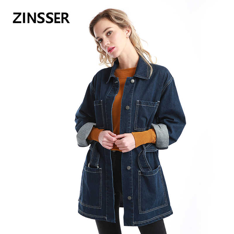 Autumn Winter Women Denim Fancy Jacket Worker Loose Casual Long Sleeve 100% Cotton Washed Blue Female Lady Coat