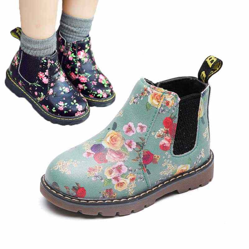 Kids Ankle Boots Girls Boys Floral